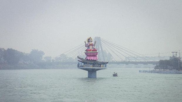 Haridwar, India - December 27, 2014: Statue of Goddess Ganga, Haridwar, India