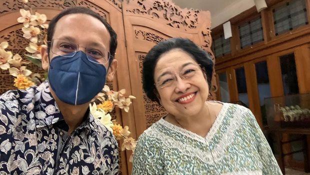 Nadiem Makarim bersama Megawati