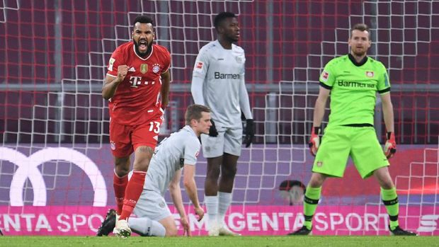 Soccer Football - Bundesliga - Bayern Munich v Bayer Leverkusen - Allianz Arena, Munich, Germany - April 20, 2021 Bayern Munich's Eric Maxim Choupo-Moting celebrates scoring their first goal Pool via REUTERS/Andreas Gebert DFL regulations prohibit any use of photographs as image sequences and/or quasi-video.