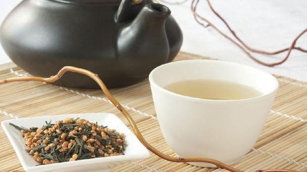 Ilustrasi teh hijau genmaicha