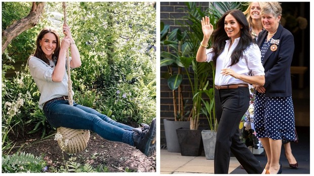 Kate Middleton dan Meghan Markle dalam balutan shirt and jeans.