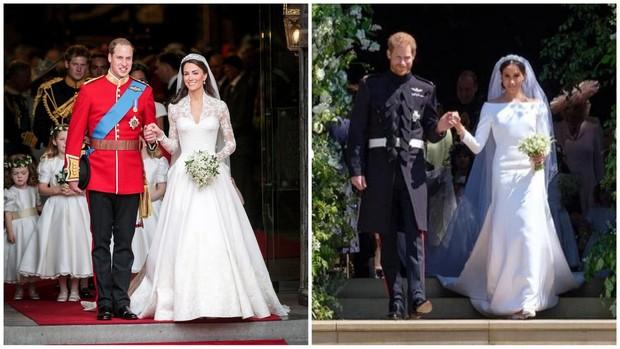Kate Middleton dan Meghan Markle di hari pernikahannya.