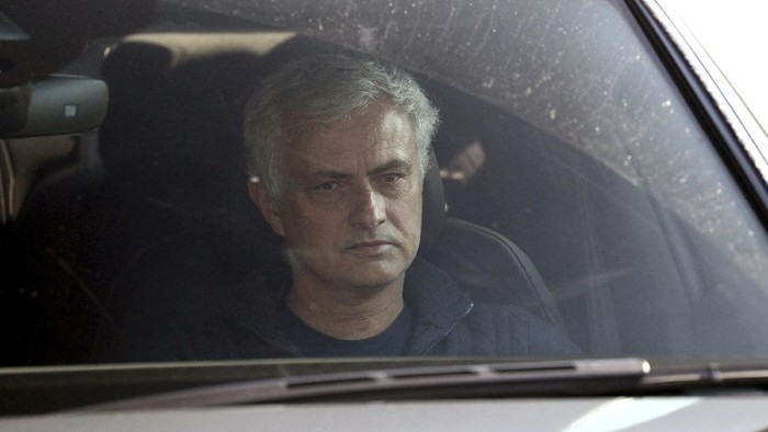 Jose Mourinho leaves Tottenham Hotspur training ground, London, Monday April 19, 2021. Tottenham fired Jose Mourinho on Monday after only 17 months in charge, and just as he was preparing to coach the club in the League Cup final. (Jonathan Brady/PA via AP)