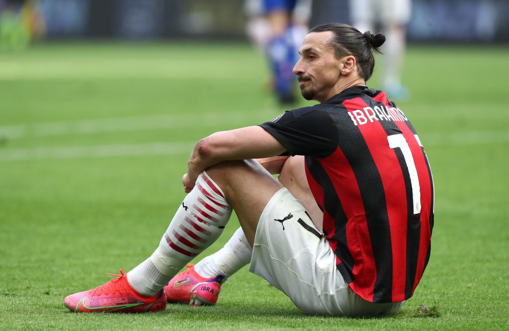 MILAN, ITALY - APRIL 03: Zlatan Ibrahimovic of A.C. Milan reacts during the Serie A match between AC Milan and UC Sampdoria at Stadio Giuseppe Meazza on April 03, 2021 in Milan, Italy. Sporting stadiums around Italy remain under strict restrictions due to the Coronavirus Pandemic as Government social distancing laws prohibit fans inside venues resulting in games being played behind closed doors. (Photo by Marco Luzzani/Getty Images)