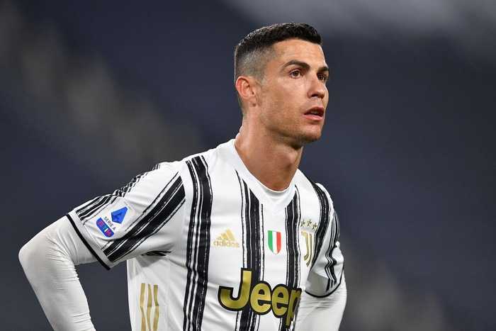 TURIN, ITALY - APRIL 21:  Cristiano Ronaldo of Juventus looks on during the Serie A match between Juventus  and Parma Calcio at Allianz Stadium on April 21, 2021 in Turin, Italy.  (Photo by Valerio Pennicino/Getty Images )