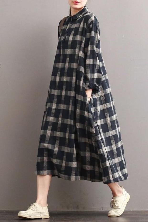 Linen plaid casual loose dress (sumber : pinterest.com/fantasylinen)