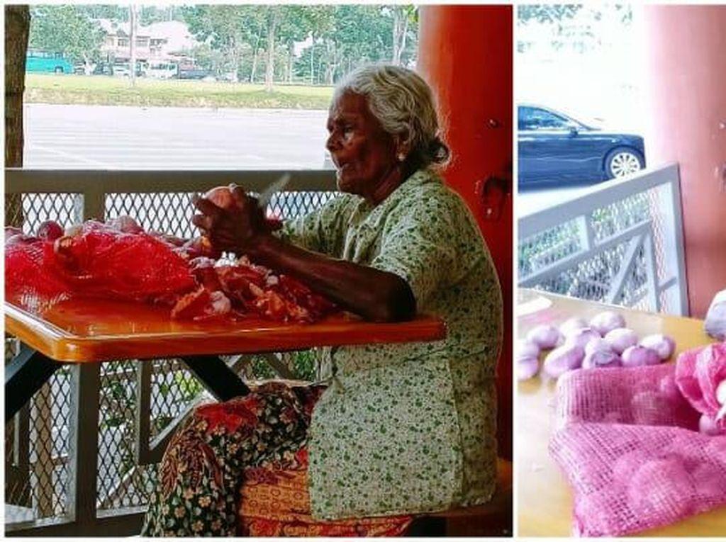 Salut! Nenek 84 Tahun Ini Jadi Tukang Kupas Bawang karena Ingin Mandiri