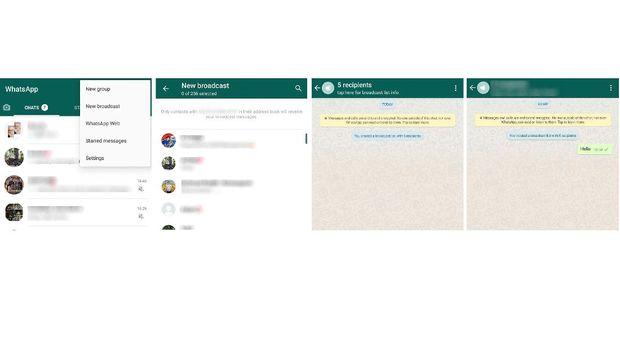 Tangkapan layar cara membroadcast pesan WhatsApp.