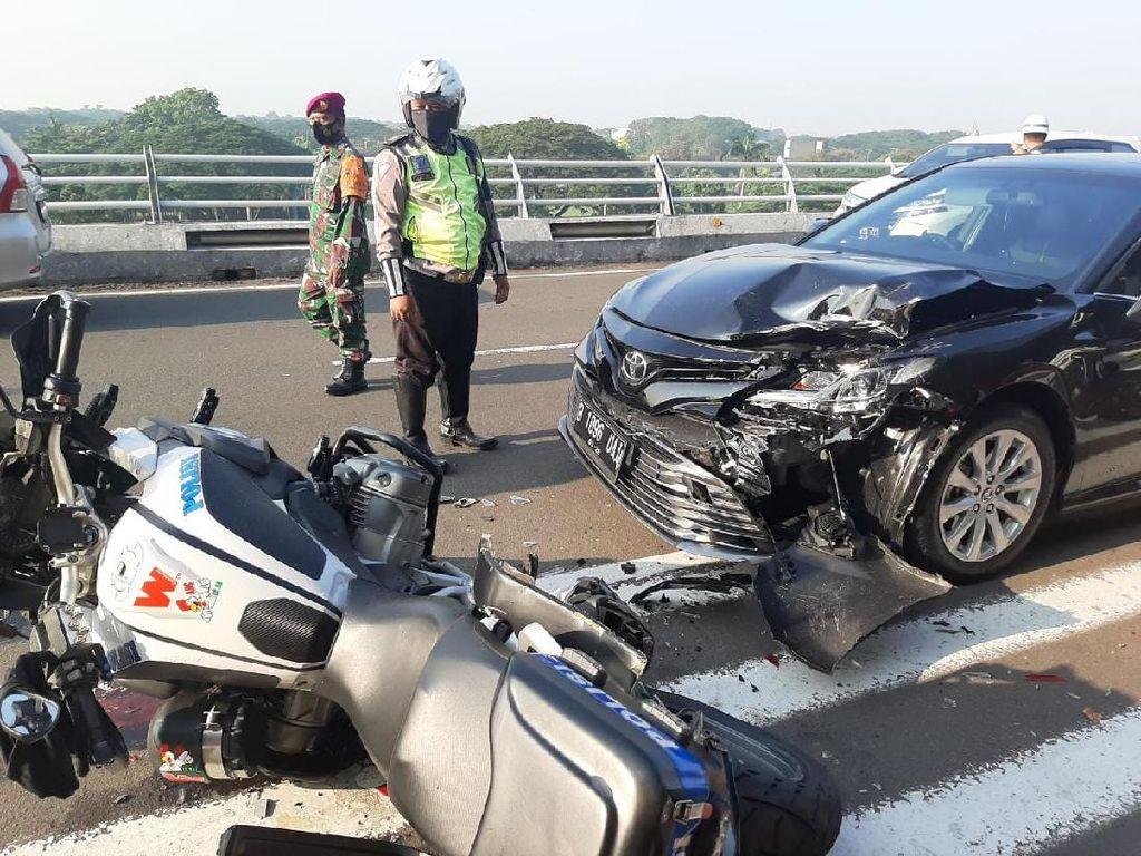 Mobil Dinas-Moge BMW Patwal Ditabrak Pengemudi Ngantuk di Soetta