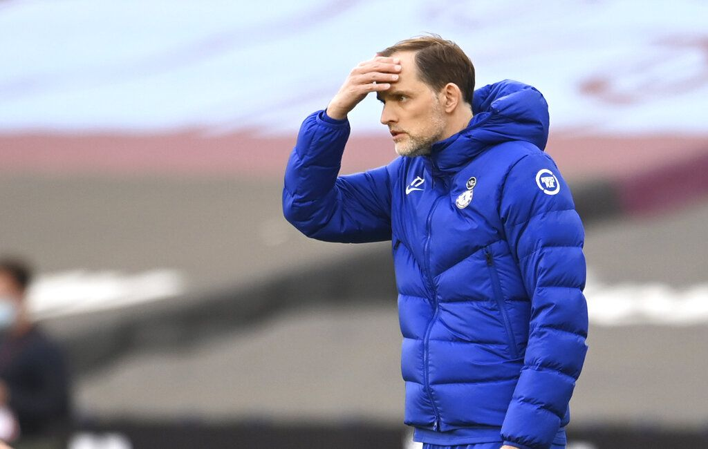 Chelsea's head coach Thomas Tuchel reacts during the English Premier League soccer match between West Ham United and Chelsea at London Stadium, London, England, Saturday, April 24, 2021. (Andy Rain/Pool via AP)