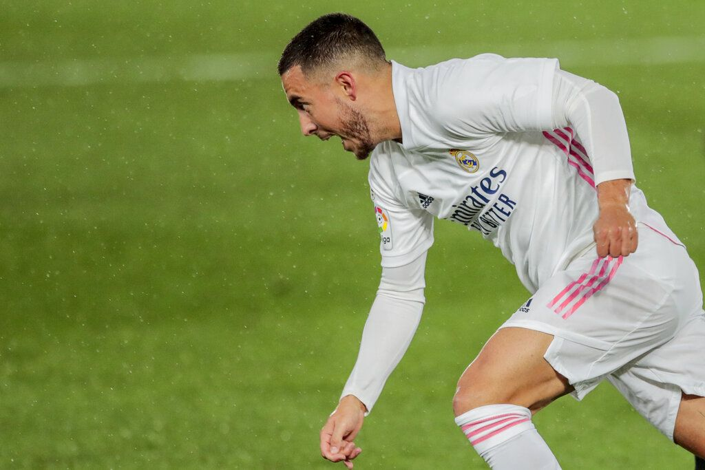 Real Madrid's Eden Hazard in action during the Spanish La Liga soccer match between Real Madrid and Betis at the Alfredo di Stefano stadium in Madrid, Spain, Saturday, April 24, 2021. (AP Photo/Bernat Armangue)