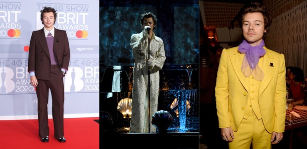 Harry Styles dalam red carpet Brit Awards 2020.