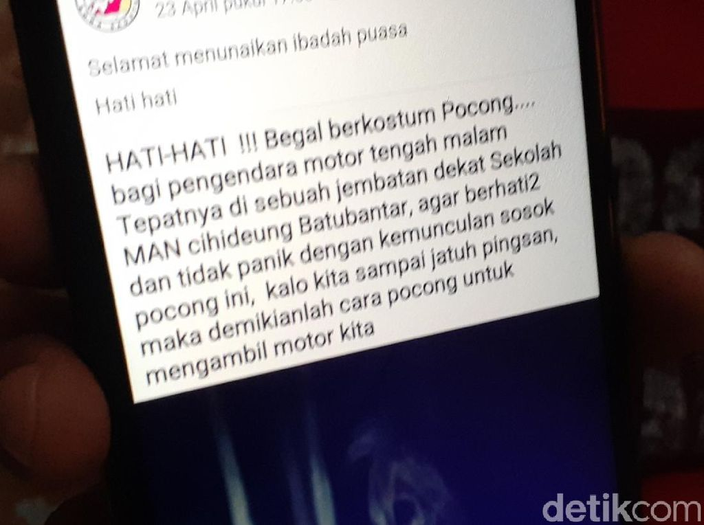 Viral Info Begal Berkostum Pocong di Pandeglang, Polisi: Hoaks!