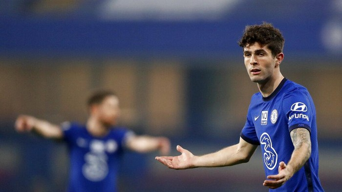 Chelseas Christian Pulisic reacts during the English Premier League soccer match between Chelsea and Brighton and Hove Albion at Stamford Bridge Stadium in London, Tuesday, April 20, 2021. (AP Photo/Frank Augstein,Pool)