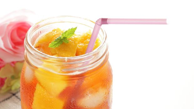Ice mango hite background and copy space