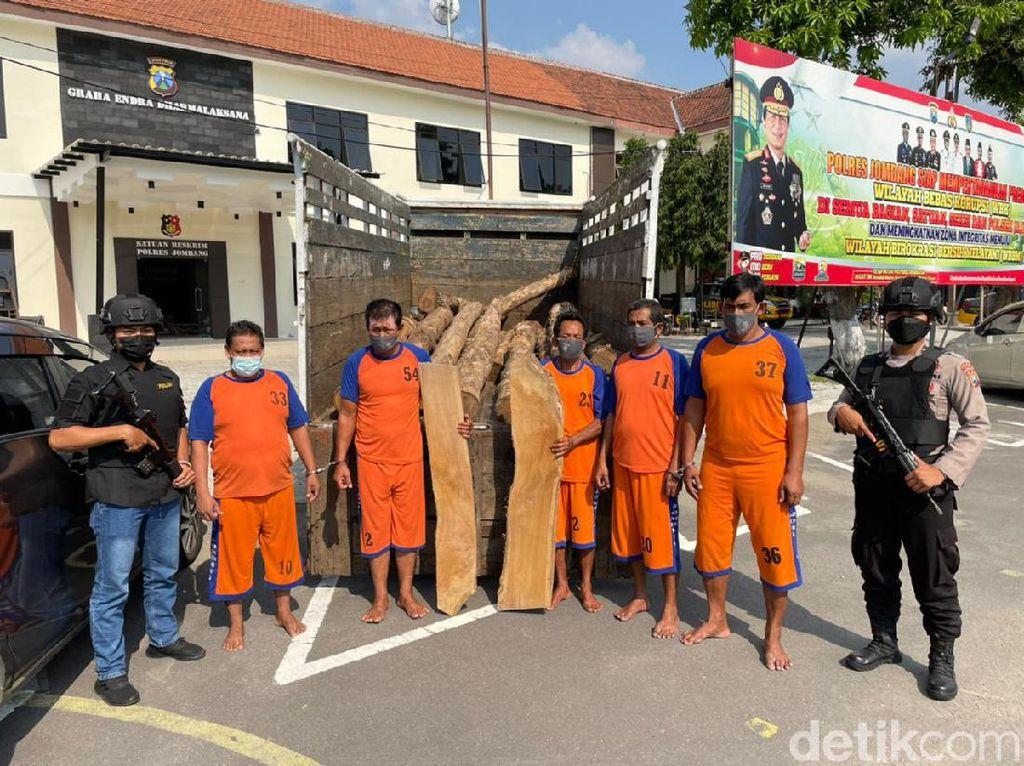 8 Orang Komplotan Pencuri 250 Batang Kayu Jati di Jombang Diringkus
