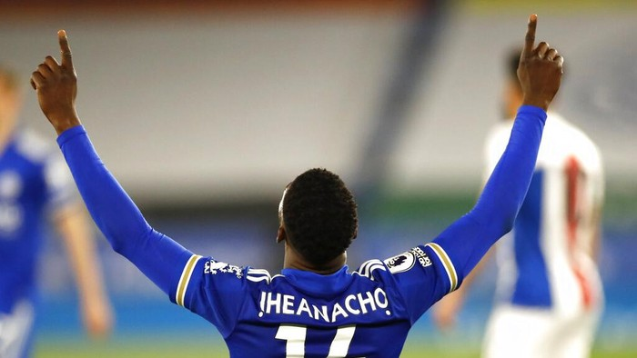 Leicesters Kelechi Iheanacho celebrates after scoring his sides second goal during the English Premier League soccer match between Leicester City and Crystal Palace at the King Power Stadium in Leicester, England, Monday, April 26, 2021.(Andrew Boyers/Pool via AP)