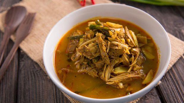 sayur nangka. indonesian food made from young jackfruit with coconut milk