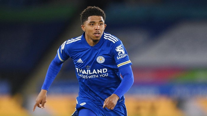 LEICESTER, ENGLAND - APRIL 22: Wesley Fofana of Leicester in action during the Premier League match between Leicester City and West Bromwich Albion at The King Power Stadium on April 22, 2021 in Leicester, England. Sporting stadiums around the UK remain under strict restrictions due to the Coronavirus Pandemic as Government social distancing laws prohibit fans inside venues resulting in games being played behind closed doors. (Photo by Michael Regan/Getty Images)