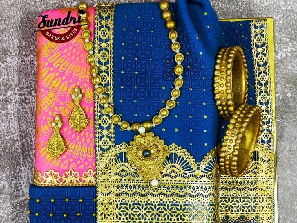 Cantik! Kue Ini Dibuat dengan Desain Kain Sari khas India