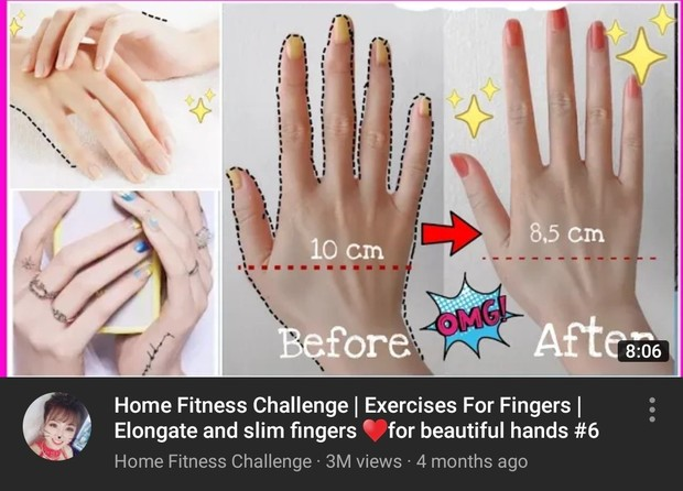 Fingers exercises Home Fitness Challenge/youtube.com