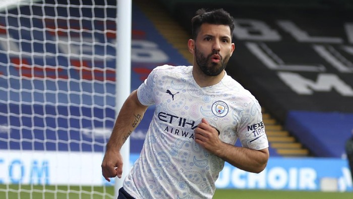 Manchester Citys Sergio Aguero reacts after scoring his teams first goal during the English Premier League soccer match between Crystal Palace and Manchester City at Selhurst Park in London, England, Saturday, May 1, 2021. (AP Photo/Catherine Ivill/Pool)