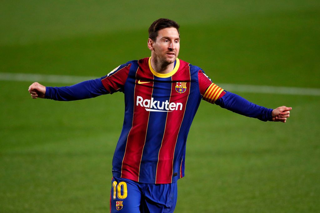 BARCELONA, SPAIN - APRIL 22: Lionel Messi of FC Barcelona celebrates after scoring their sides first goal  during the La Liga Santander match between FC Barcelona and Getafe CF at Camp Nou on April 22, 2021 in Barcelona, Spain. Sporting stadiums around Spain remain under strict restrictions due to the Coronavirus Pandemic as Government social distancing laws prohibit fans inside venues resulting in games being played behind closed doors.  (Photo by Eric Alonso/Getty Images)