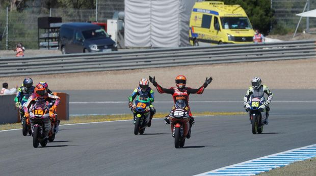 MotoGP - Spanish Grand Prix - Circuito de Jerez, Jerez, Spain - May 2, 2021 Indonesian Racing Gresini Moto3's Jeremy Alcoba reacts during the moto3 race REUTERS/Jon Nazca