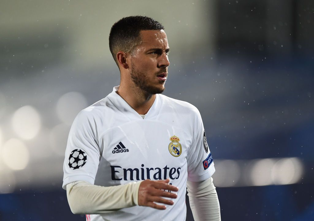 MADRID, SPAIN - APRIL 27:  Eden Hazard of Real Madrid looks on during the UEFA Champions League Semi Final First Leg match between Real Madrid and Chelsea FC at Estadio Alfredo Di Stefano on April 27, 2021 in Madrid, Spain. Sporting stadiums around Spain remain under strict restrictions due to the Coronavirus Pandemic as Government social distancing laws prohibit fans inside venues resulting in games being played behind closed doors. (Photo by Denis Doyle/Getty Images)(Photo by Denis Doyle/Getty Images