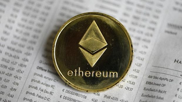 The photo shows a physical imitation of a Ethereum cryptocurrency in Dortmund, western Germany, on January 27, 2020. (Photo by INA FASSBENDER / AFP)