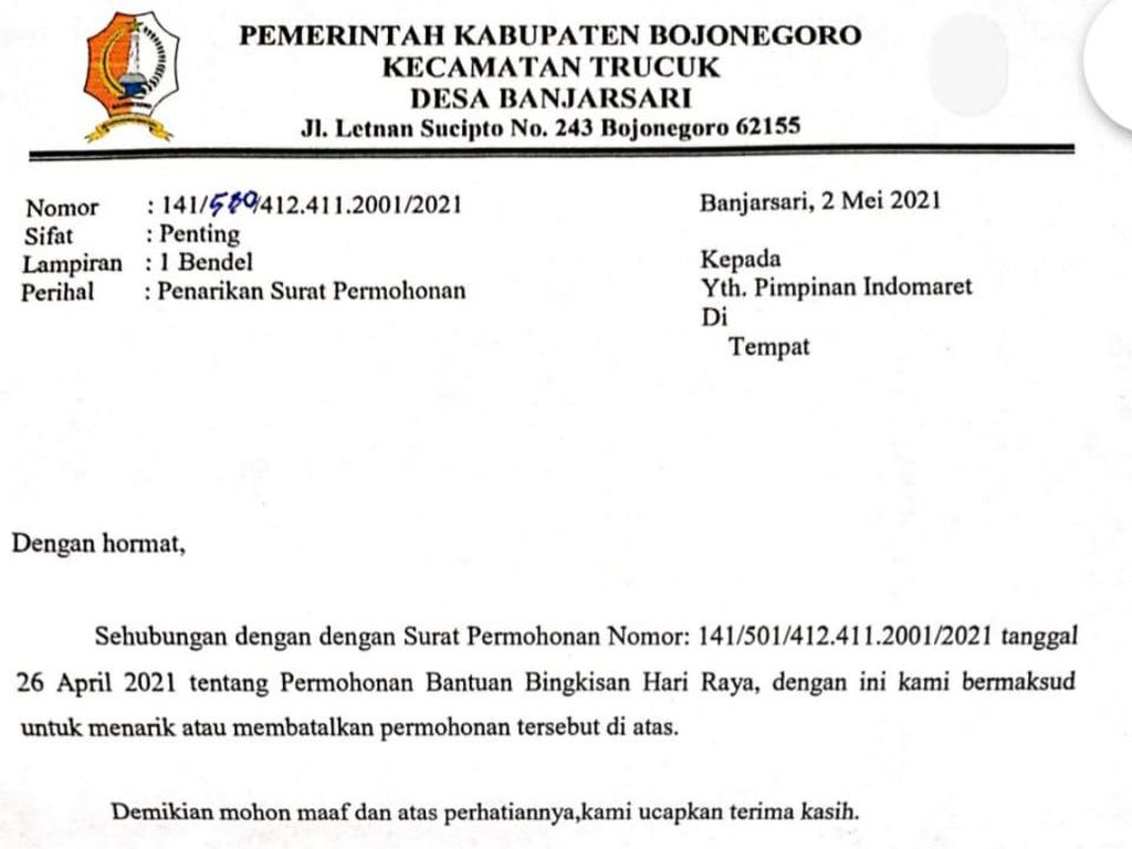 Kades di Bojonegoro yang Minta THR ke Minimarket Sudah Ditegur Camat