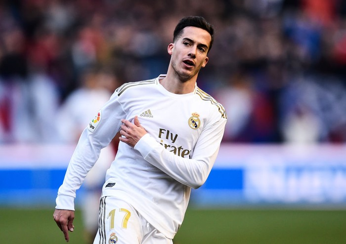 PAMPLONA, SPAIN - FEBRUARY 09: Lucas Vazquez of Real Madrid CF reacts during the Liga match between CA Osasuna and Real Madrid CF at El Sadar Stadium on February 09, 2020 in Pamplona, Spain. (Photo by Juan Manuel Serrano Arce/Getty Images)
