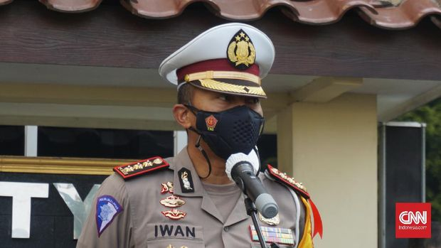 Dirlantas Polda DIY Kombes Pol Iwan Saktiadi di Mapolda DIY, Sleman, Rabu (5/5). CNN Indonesia.