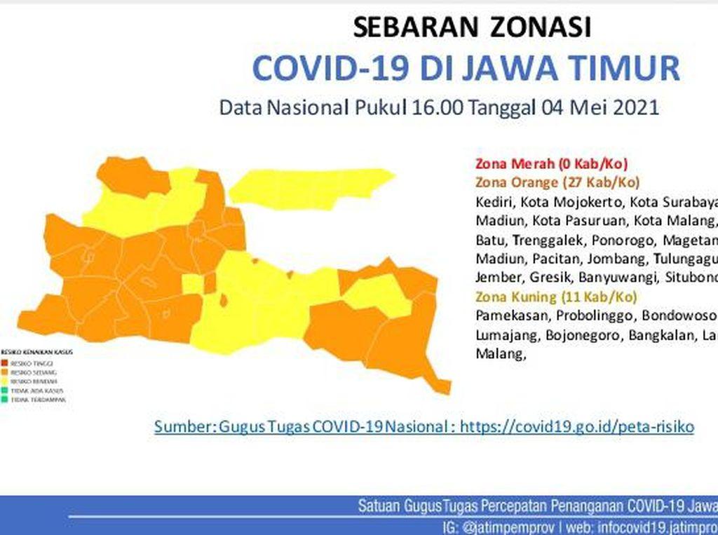 Jelang Larangan Mudik, Ini Sebaran Zonasi COVID-19 di 38 Kab/Kota Jatim