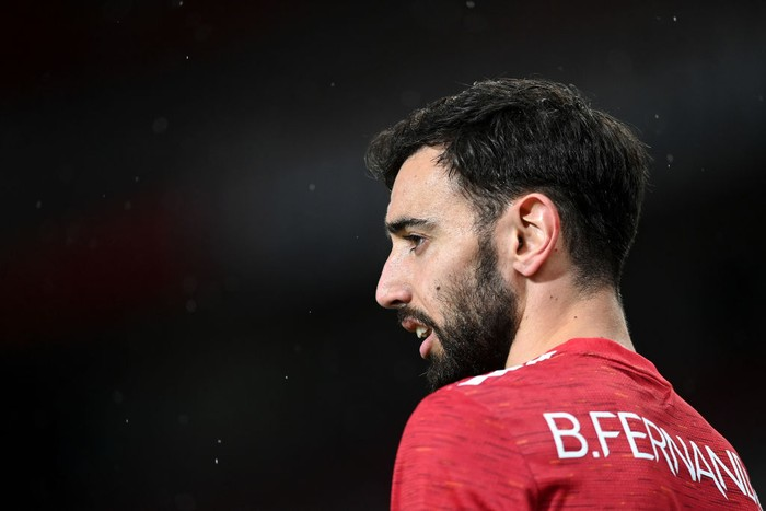 MANCHESTER, ENGLAND - APRIL 29: Bruno Fernandes of Manchester United looks on during the UEFA Europa League Semi-final First Leg match between Manchester United and AS Roma at Old Trafford on April 29, 2021 in Manchester, England. Sporting stadiums around Europe remain under strict restrictions due to the Coronavirus Pandemic as Government social distancing laws prohibit fans inside venues resulting in games being played behind closed doors. (Photo by Michael Regan/Getty Images)