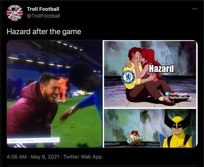 eden hazard chelsea vs real madrid liga champions meme