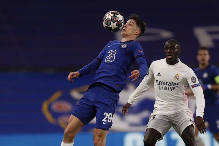 Chelseas Kai Havertz controls the ball during the Champions League semifinal 2nd leg soccer match between Chelsea and Real Madrid at Stamford Bridge in London, Wednesday, May 5, 2021. (AP Photo/Alastair Grant)