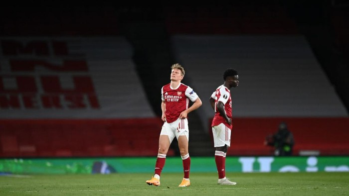 LONDON, ENGLAND - MAY 06: Martin Odegaard of Arsenal reacts during the UEFA Europa League Semi-final Second Leg match between Arsenal and Villareal CF at Emirates Stadium on May 06, 2021 in London, England. Sporting stadiums around Europe remain under strict restrictions due to the Coronavirus Pandemic as Government social distancing laws prohibit fans inside venues resulting in games being played behind closed doors. (Photo by Shaun Botterill/Getty Images)