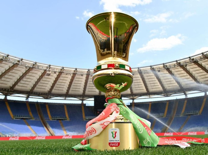 ROME, ITALY - JUNE 16: The trophy at the Olympic stadium prior the Coppa Italia Final match between Juventus and SSC Napoli at Olimpico Stadium on June 16, 2020 in Rome, Italy. (Photo by Marco Rosi/Getty Images)