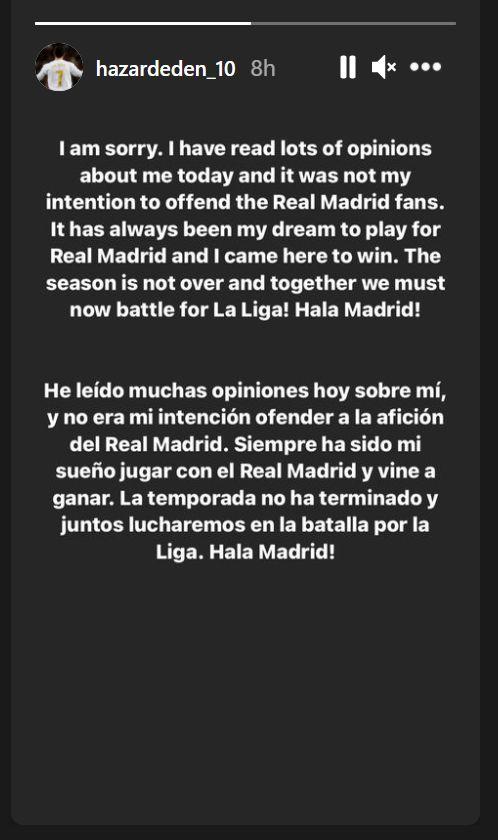 Instagram Story Eden Hazard, di ambil dengan screen capture