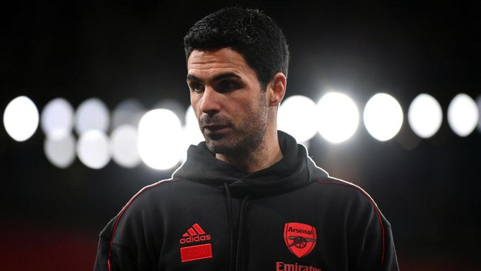 LONDON, ENGLAND - MARCH 14: Mikel Arteta, Manager of Arsenal   looks on following the Premier League match between Arsenal and Tottenham Hotspur at Emirates Stadium on March 14, 2021 in London, England. Sporting stadiums around the UK remain under strict restrictions due to the Coronavirus Pandemic as Government social distancing laws prohibit fans inside venues resulting in games being played behind closed doors. (Photo by Dan Mullan/Getty Images)