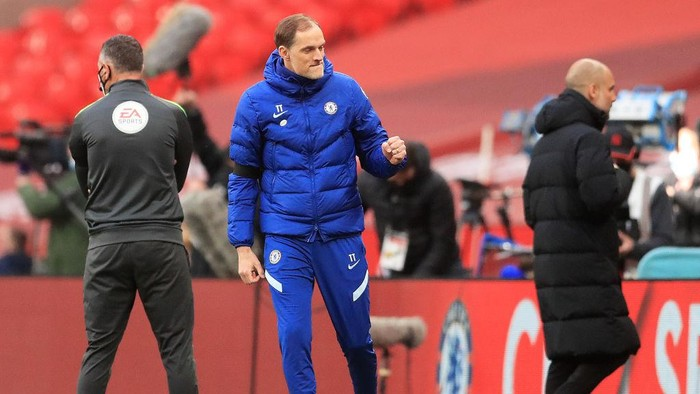 LONDON, ENGLAND - APRIL 17: Thomas Tuchel, Manager of Chelsea celebrates following his teams victory in the Semi Final of the Emirates FA Cup match between Manchester City and Chelsea FC at Wembley Stadium on April 17, 2021 in London, England. Sporting stadiums around the UK remain under strict restrictions due to the Coronavirus Pandemic as Government social distancing laws prohibit fans inside venues resulting in games being played behind closed doors.  (Photo by Adam Davy - Pool/Getty Images)