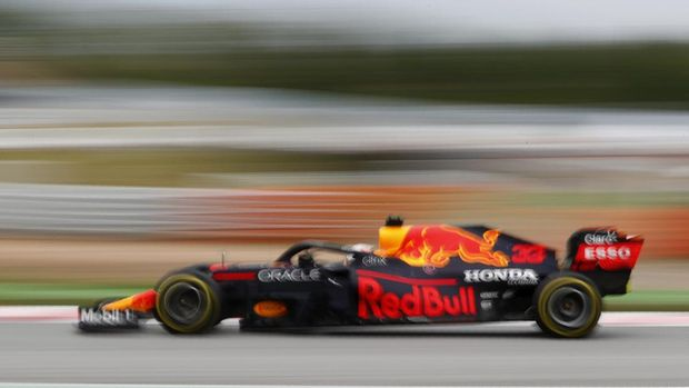 Red Bull driver Max Verstappen of the Netherlands steers his car during the Spanish Formula One Grand Prix at the Barcelona Catalunya racetrack in Montmelo, just outside Barcelona, Spain, Sunday, May 9, 2021. (AP Photo/Joan Monfort)