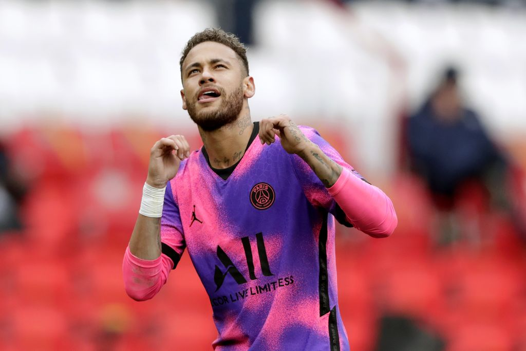 PSG's Neymar celebrates after scoring his side's first goal during the French League One soccer match between Paris Saint-Germain and Lens at the Parc des Princes stadium in Paris, France, Saturday, May 1, 2021. (AP Photo/Thibault Camus)