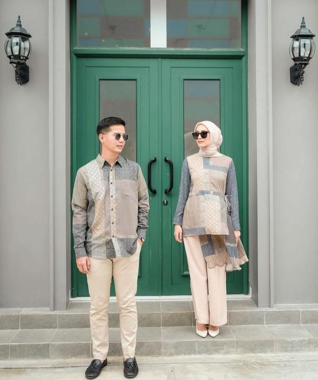 Inspirasi Outfit Lebaran Couple Ala Mega Iskanti
