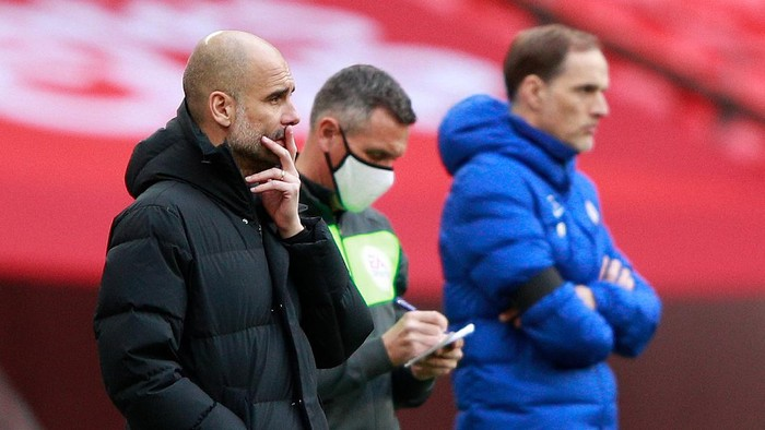 LONDON, ENGLAND - APRIL 17: Pep Guardiola, Manager of Manchester City looks on during the Semi Final of the Emirates FA Cup match between Manchester City and Chelsea FC at Wembley Stadium on April 17, 2021 in London, England. Sporting stadiums around the UK remain under strict restrictions due to the Coronavirus Pandemic as Government social distancing laws prohibit fans inside venues resulting in games being played behind closed doors. (Photo by Ian Walton - Pool/Getty Images)