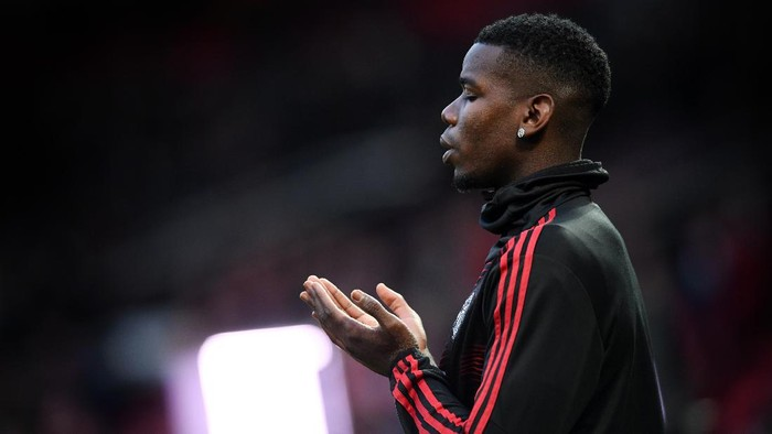 MANCHESTER, ENGLAND - APRIL 10:  Paul Pogba of Manchester United prior to the UEFA Champions League Quarter Final first leg match between Manchester United and FC Barcelona at Old Trafford on April 10, 2019 in Manchester, England. (Photo by Stu Forster/Getty Images)