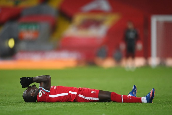 LIVERPOOL, ENGLAND - MARCH 04: Sadio Mane of Liverpool reacts during the Premier League match between Liverpool and Chelsea at Anfield on March 04, 2021 in Liverpool, England. Sporting stadiums around the UK remain under strict restrictions due to the Coronavirus Pandemic as Government social distancing laws prohibit fans inside venues resulting in games being played behind closed doors. (Photo by Laurence Griffiths/Getty Images)