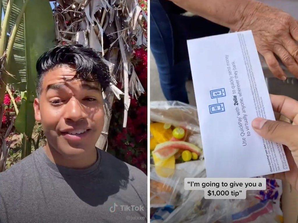 Salut! TikToker Ini Sumbangkan Rp 14 Juta ke Puluhan Penjual Makanan
