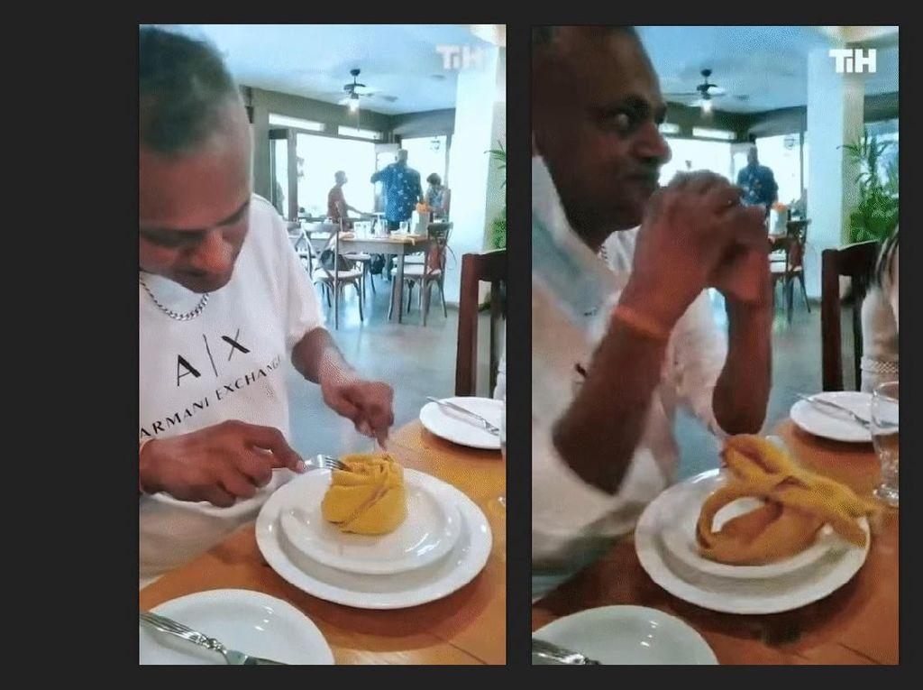 Kocak! Disangka Dessert, Pria Ini Hampir Makan Serbet di Restoran